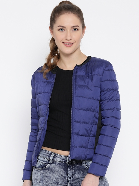 United Colors of Benetton Blue Collarless Puffer Jacket