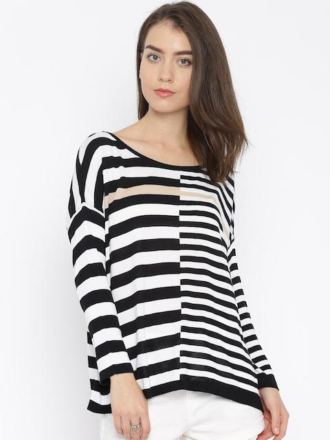United Colors of Benetton Black & White Striped Winter Top
