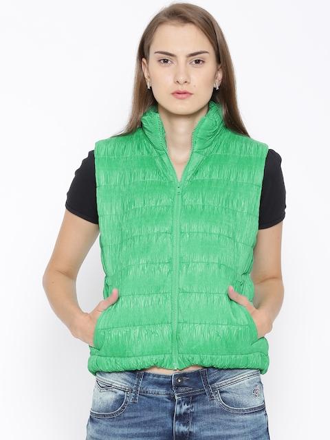 United Colors of Benetton Green Crinkled Sleeveless Jacket