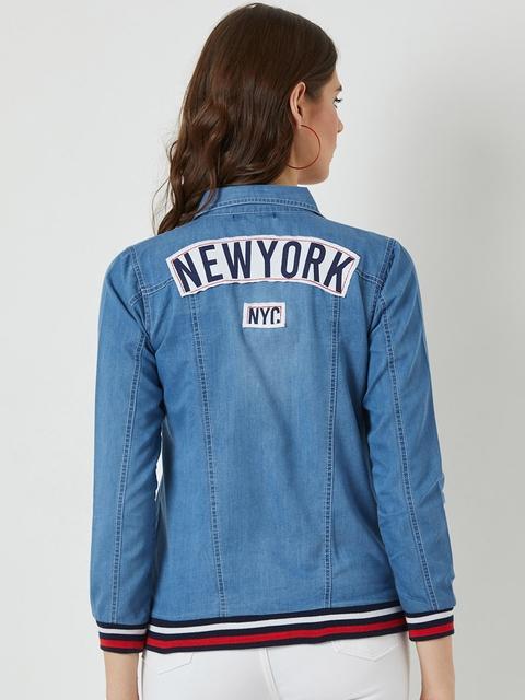 Miss Chase Women Blue Solid Denim Jacket