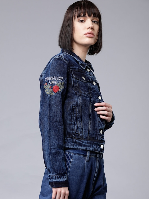Tokyo Talkies Women Blue Solid Jacket