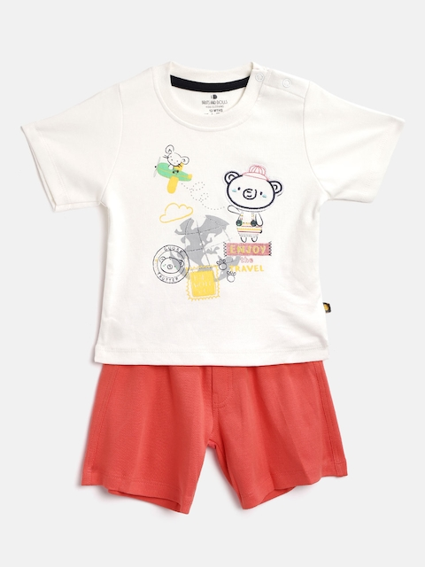 BRATS AND DOLLS Unisex Off-White & Coral Pink Printed T-shirt with Shorts