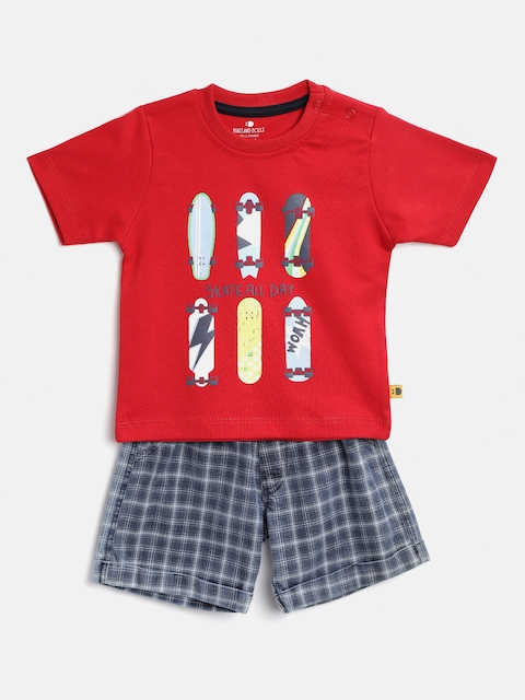 BRATS AND DOLLS Kids Red & Navy Blue Printed T-shirt with Shorts
