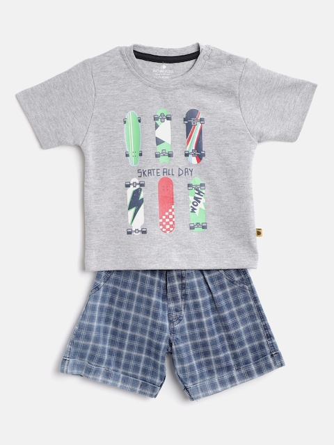 BRATS AND DOLLS Kids Grey Melange & Blue Printed T-shirt with Shorts
