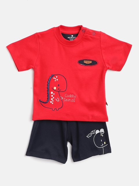 BRATS AND DOLLS Kids Red & Navy Blue Self Design T-shirt with Shorts