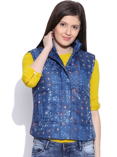 Pepe Jeans Blue Sleeveless Printed Jacket
