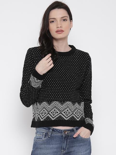 Pepe Jeans Black & Off-White Woollen Sweater