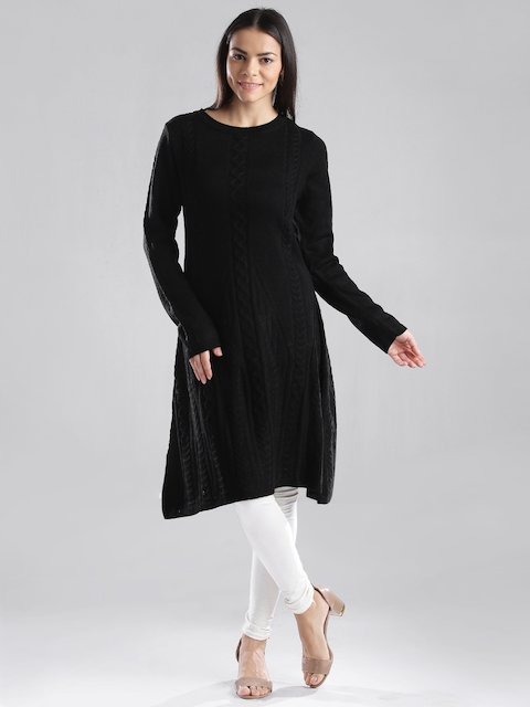 W Black Winter A-Line Kurta