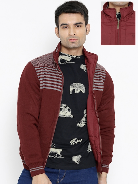 Allen Solly Maroon & Grey Reversible Jacket