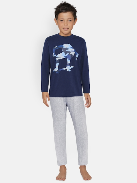OVS Boys Navy Blue & Grey Printed T-shirt with Pyjamas