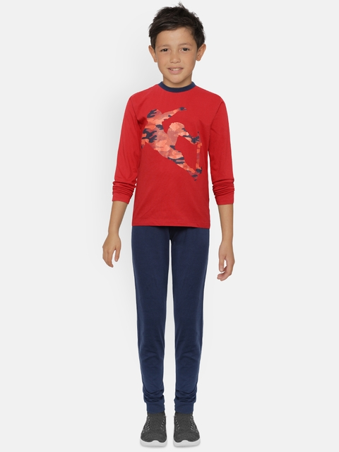 OVS Boys Red & Navy Blue Printed T-shirt with Pyjamas