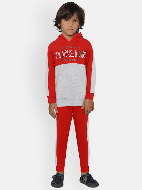 OVS Boys Red & Grey Melange Printed Pullover with Joggers