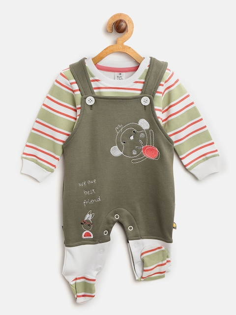 BRATS AND DOLLS Kids Olive Green & White Striped T-shirt with Dungarees