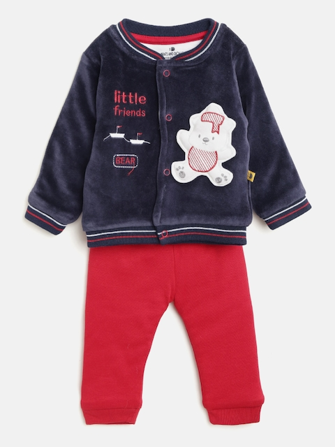 BRATS AND DOLLS Boys Navy Blue & Red Self-Design Sweatshirt with Joggers