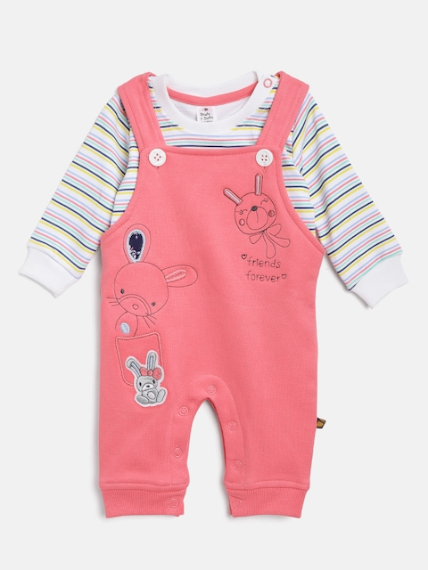 BRATS AND DOLLS Unisex White & Coral Striped Sweatshirt with Dungarees