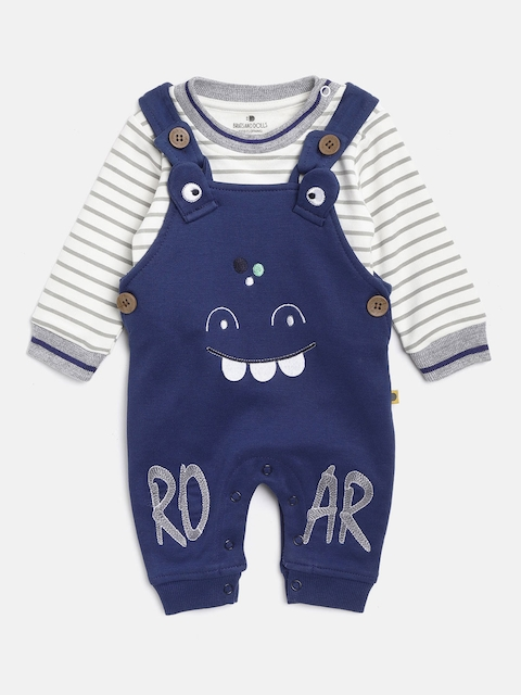 BRATS AND DOLLS Unisex White & Blue Striped Sweatshirt with Dungarees