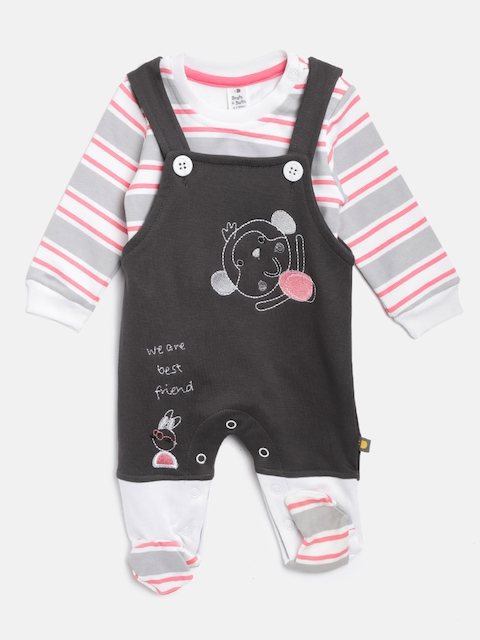 BRATS AND DOLLS Kids White & Charcoal Grey Striped Sweatshirt with Dungarees