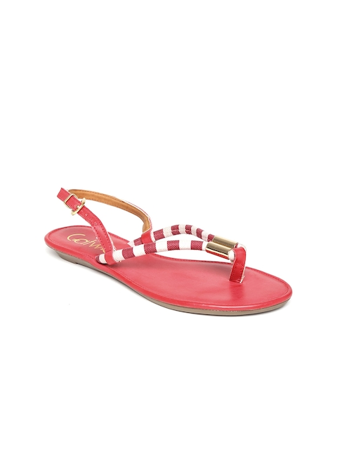 Catwalk Women Red & Off-White Striped Flats