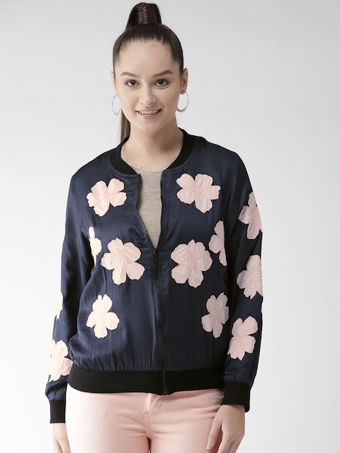 SCOUP Women Navy Blue & Pink Applique Bomber Jacket