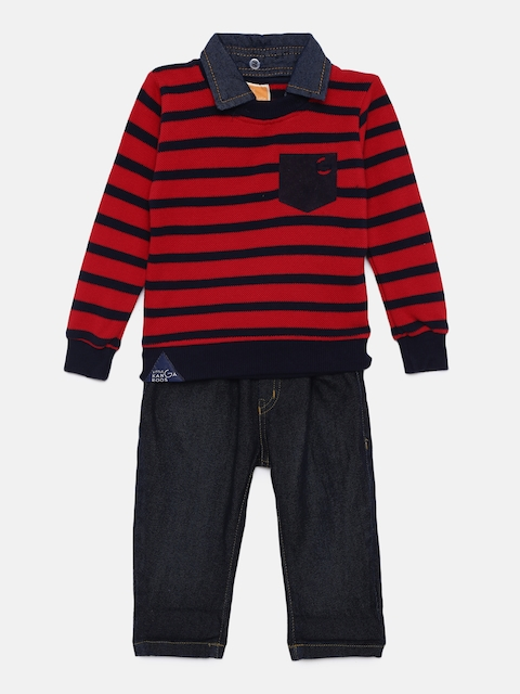Little Kangaroos Boys Red & Navy Blue Striped T-shirt with Denim Trousers