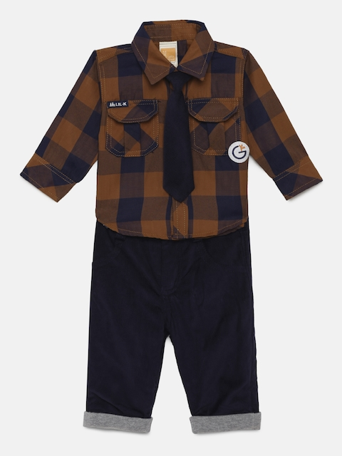 Little Kangaroos Infants Brown & Blue Checked Shirt with Trousers