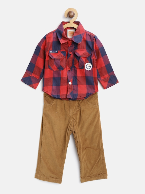 Little Kangaroos Boys Red & Brown Checked Shirt with Corduroy Trousers