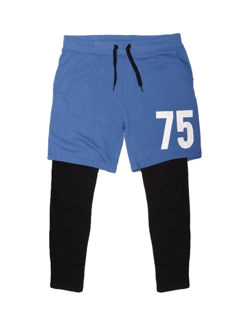 Jack & Jones Men Blue & Black Shorts cum Track Pants