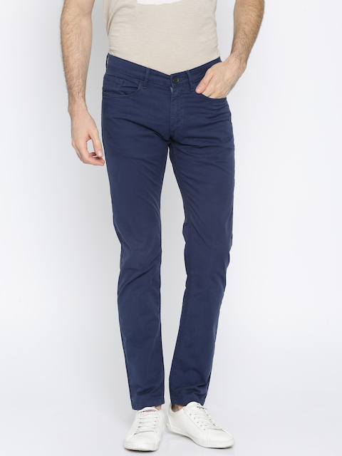 Jack & Jones Men Blue Trenim Regular Fit Solid Regular Trousers
