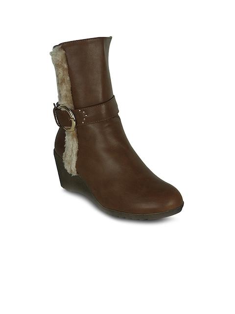 Get Glamr Women Brown Heeled Boots