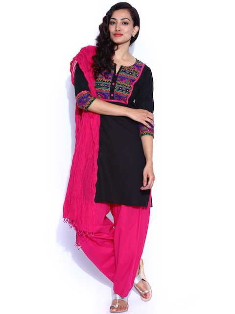Jaipur Kurti Black & Pink Printed Salwar Suit with Dupatta