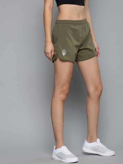 Cultsport Women Olive Green Solid Slim Fit Sports Shorts