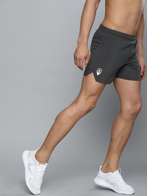 Cultsport Men Charcoal Grey Solid Slim Fit Sports Shorts