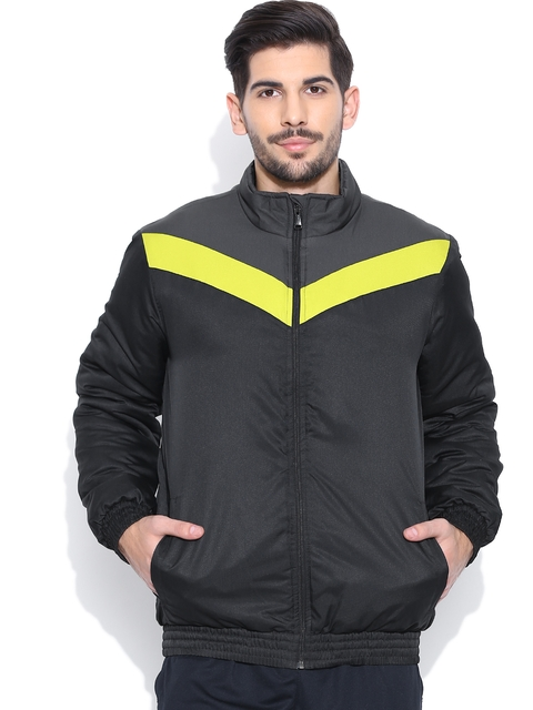 Reebok Men Black Athletic Panelled Jacket