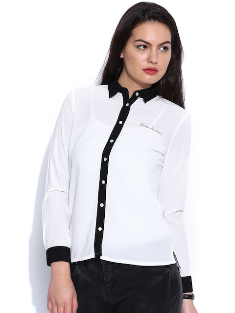 Being Human Clothing Off-White Casual Shirt