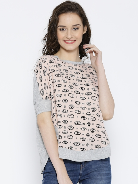 United Colors of Benetton Grey & Pink Printed Top