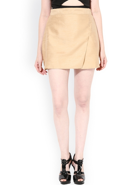 Miss Chase Beige Silk A-Line Skirt