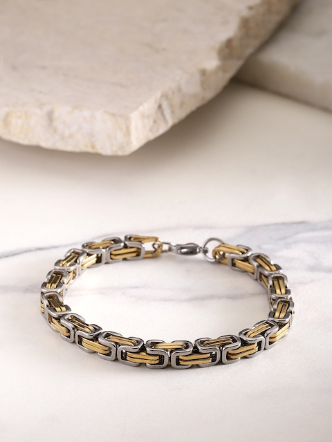 YouBella Men Gold-Toned & Gunmetal-Toned Link Bracelet