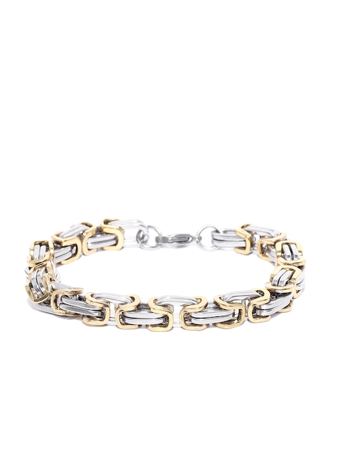 Jewels Galaxy Men Silver-Toned Gold-Plated Link Bracelet