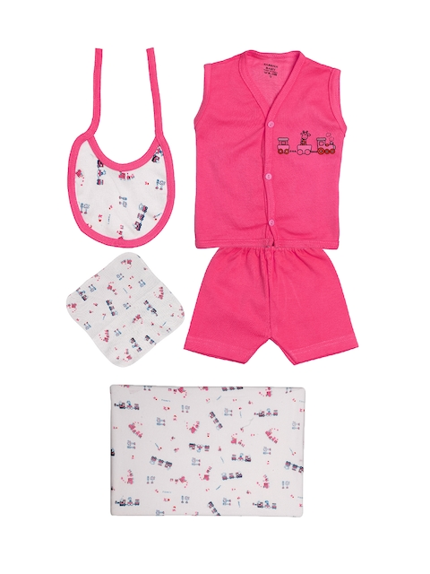 TINY HUG Kids Pink & White Baba Set