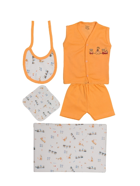TINY HUG Kids Peach-Coloured & White Baba Set