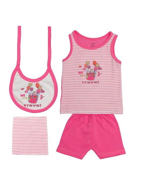 TINY HUG Kids Pink & White Sando Baba Set