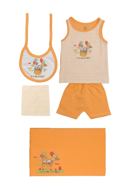 TINY HUG Kids Peach-Coloured & White Sando Baba Set