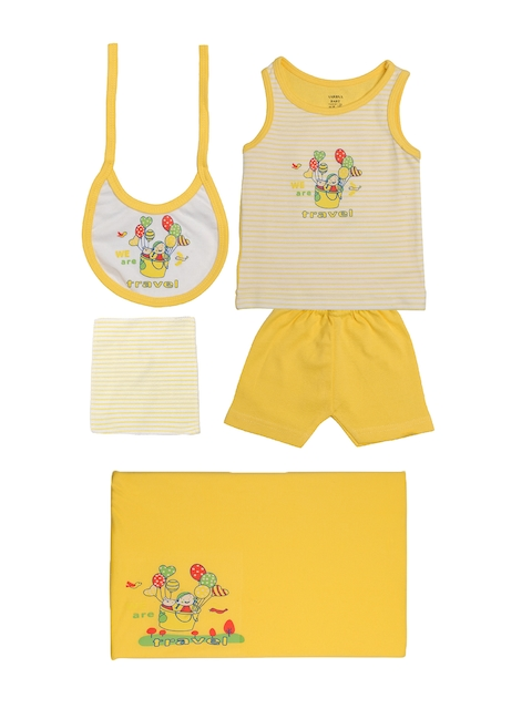 TINY HUG Kids Yellow & White Sando Baba Set
