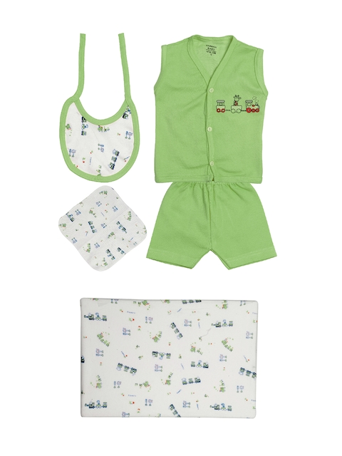 TINY HUG Kids Green & White Baba Set