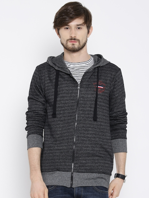 Killer Grey Self-Striped Lean Fit Hooded Sweatshirt