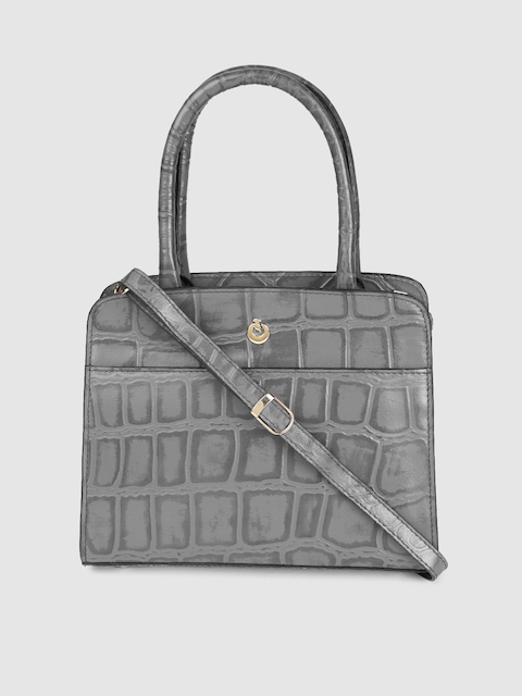 Holii Grey Textured Leather Handheld Bag
