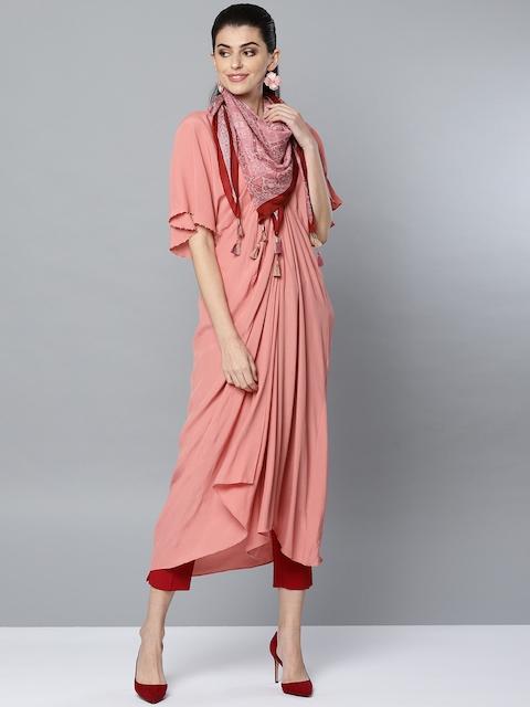 Ritu Kumar Women Dusty Pink Solid A-Line Kurta With Scarf