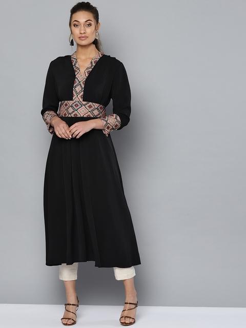 Ritu Kumar Women Black Solid A-Line Kurta With Belt