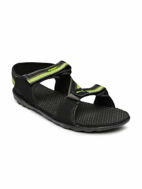 PUMA Unisex Black & Lime Green Silicis Mesh DP Sports Sandals