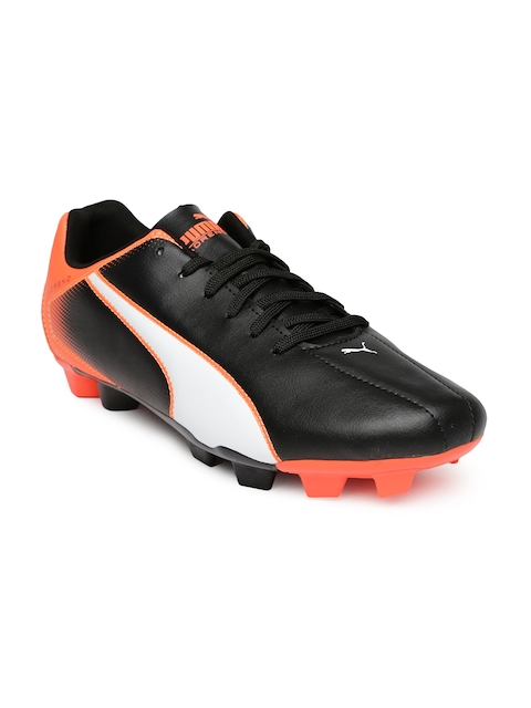 PUMA Men Black & Neon Orange Printed Adreno FG Football Shoes  available at myntra for Rs.1799